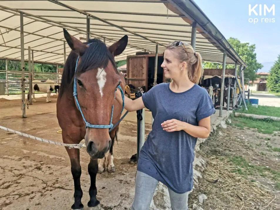 Riding Valle dei Laghi - Kim petting a horse