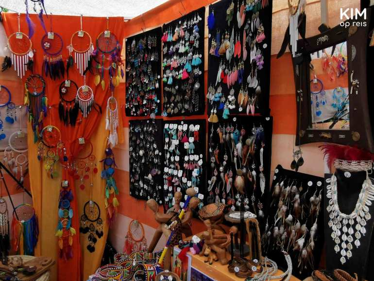 Jewelry hippy market - booth full of small dream catchers and earrings