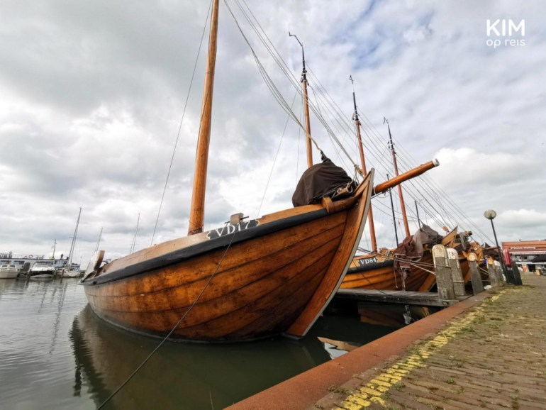 Volendam Kwak boat - front wooden ship in the harbor