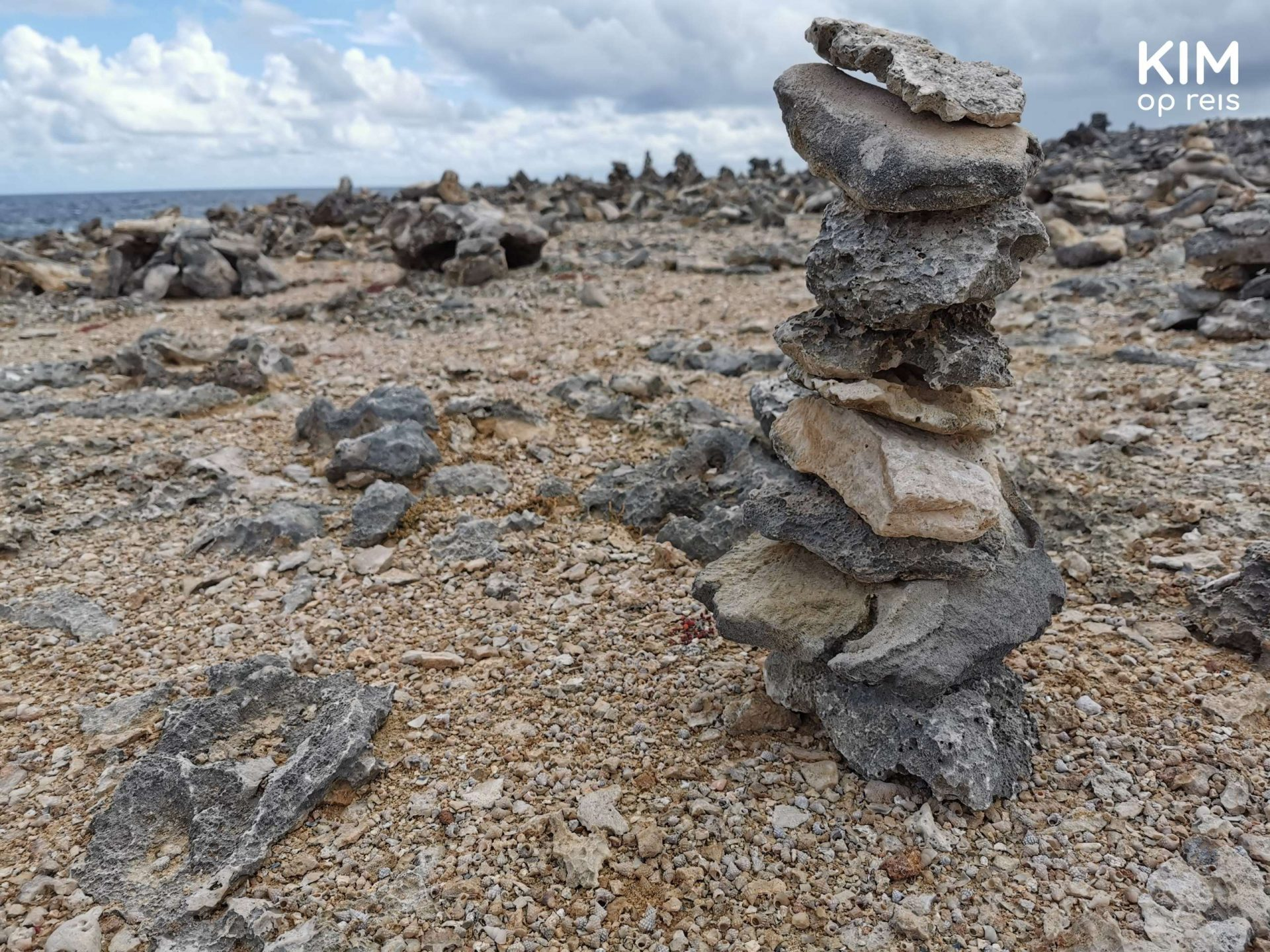 Curaçao Shete Boka: pile of stones, stacked by people