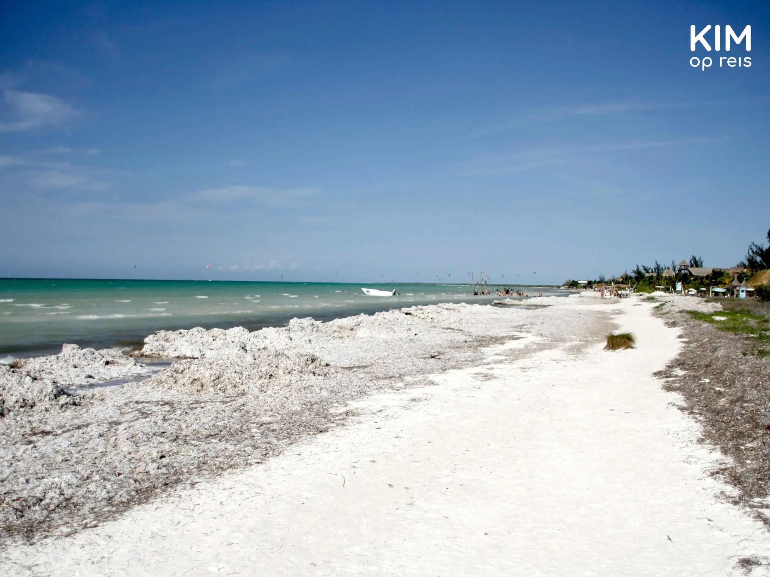 Isla Holbox strand: rechts zandstrand met links de zee