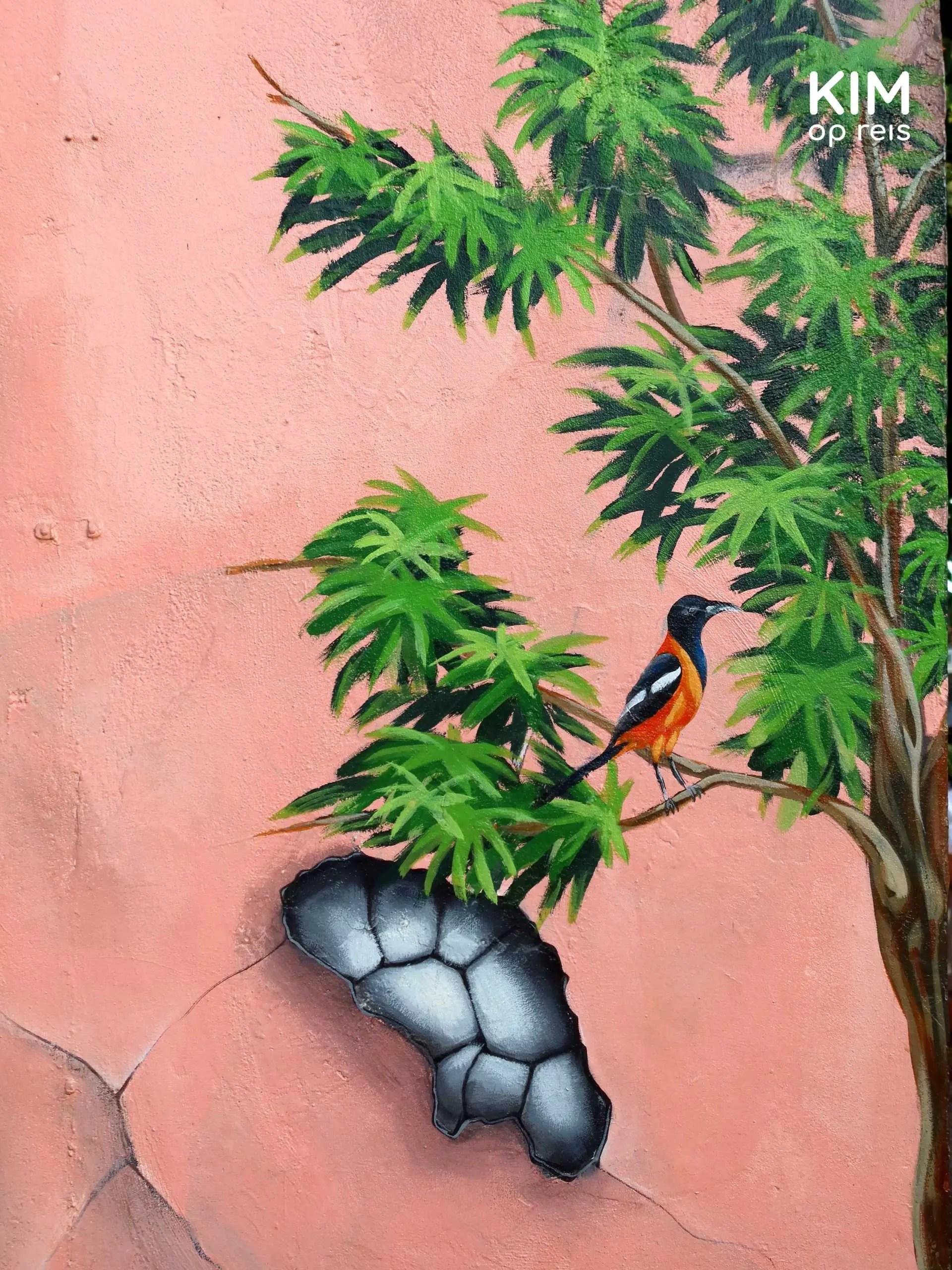 Muurschildering Curaçao: roze muur met daarop een boom met vogel geschilderd