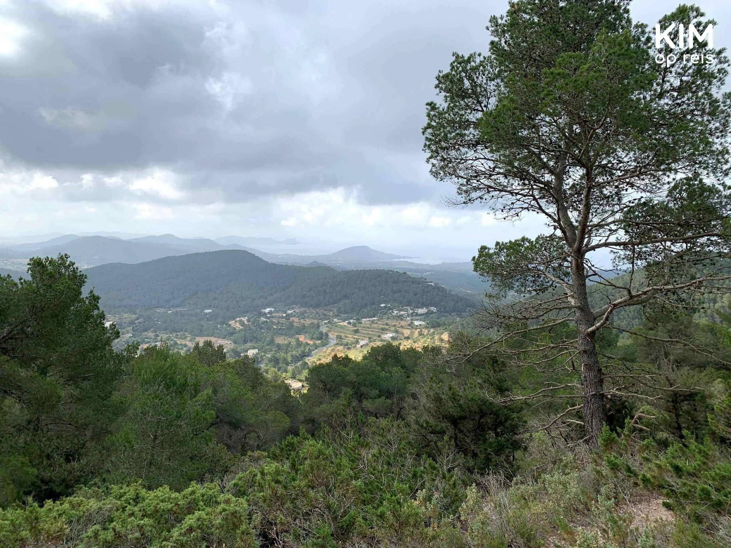 View Ibiza Sa Talaia mountain: hilly landscape, gray clouds