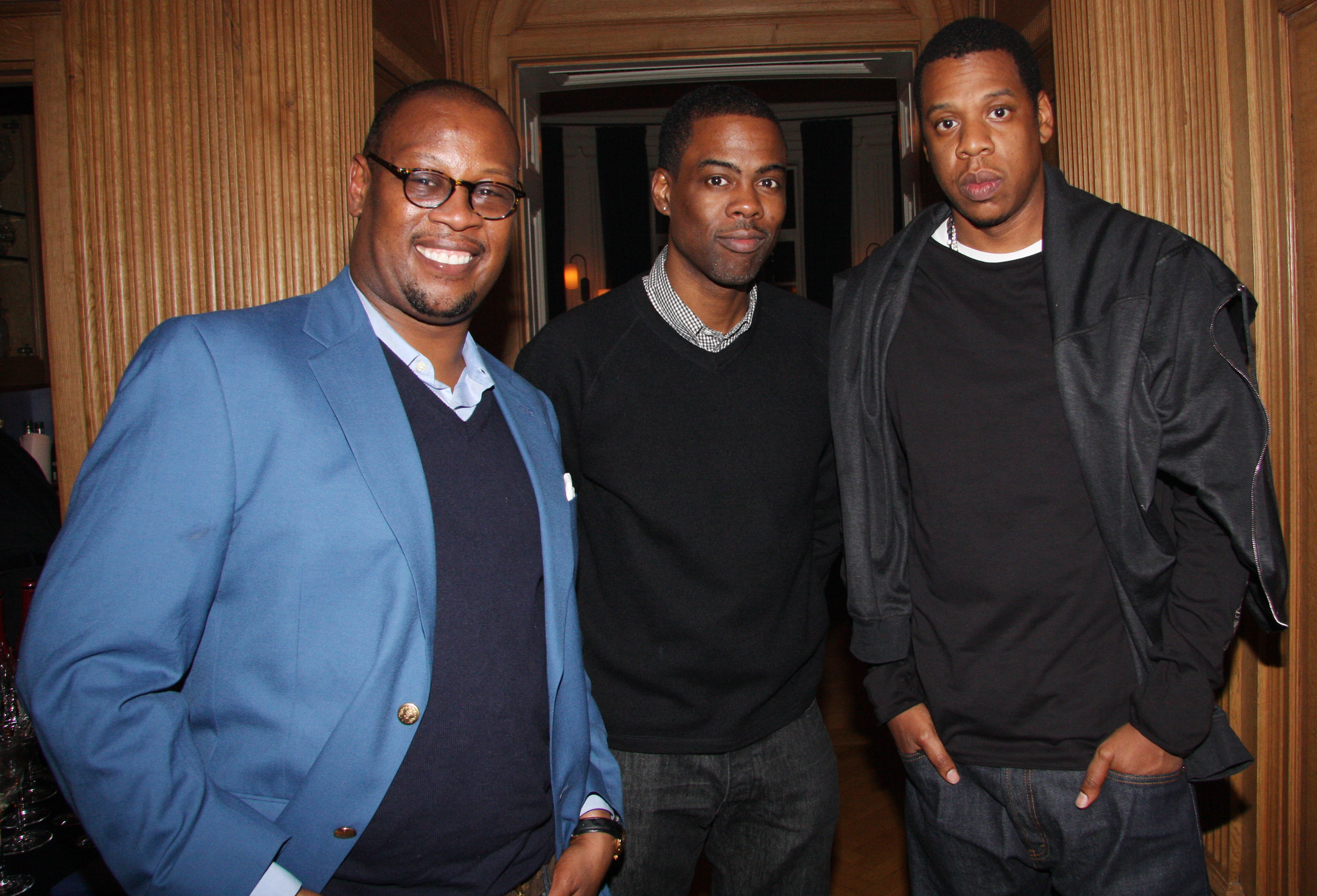 (L-R) Andre Harrell, Chris Rock and  Jay-Z attend Andre Harrell's celebration dinner hosted by Lyor Cohen at a Private Residence on January 26, 2009 in New York City.