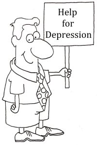 man with help for depression sign
