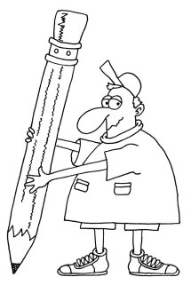 man with large pencil
