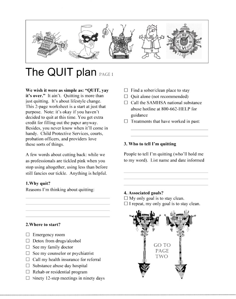 Page one of a quitting-alcohol-and-drugs worksheet.  It's splattered with strange drawings, plus has some useful information