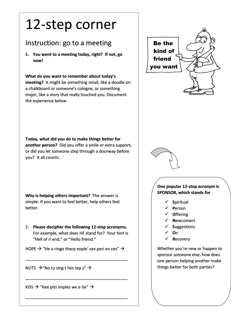 12-step worksheet - importance of helping others