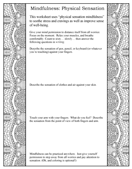 "worksheet ""mindfulness: physical sensations"""