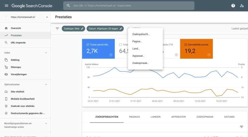 Stap 2 seo optimalisatie Google Search Console