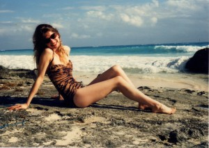 Me in the Tiger Swimsuit I Designed for Bergdorf Goodman