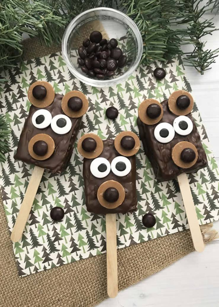 Best Rice Krispie Treats Easy Bear Rice Krispie Treats On A Stick Idea Cute Simple Chocolate Decorated Fun Food Snacks Kids Holiday Christmas Birthday Parties