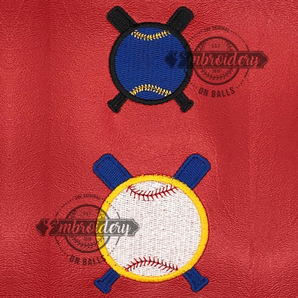 Ball Crossed Bats Filled Embroidery Design