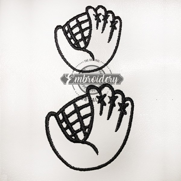 Ball Glove Outline Baseball Softball Embroidery Design