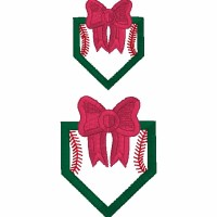 Stitched Bow Home Plate Outline Embroidery Design
