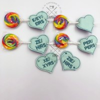 Gender Pronoun Conversation Heart Lollipop Holders Set 2