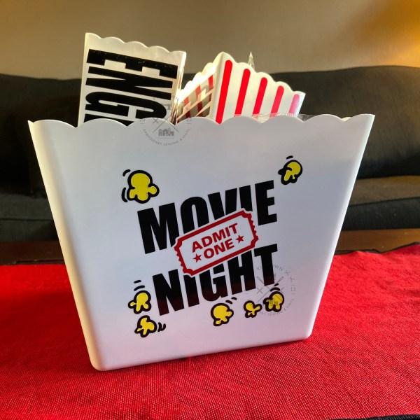 Movie Night Popcorn Buckets Customized Gift