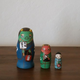 MS3-12 Matryoshka 3sets 雷さま god of thunder  Size:7cm/Material: wood  ¥6,500+Tax