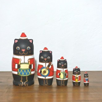 MM5-7 Matryoshka 5sets 猫サンタ楽隊 Cat Santa marching band  Size:11.5cm/Material: wood  ¥9,500+Tax