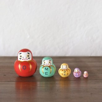 MSD5-1 Matryoshka 5sets おめでとうダルマ OMEDETOU Dharma  Size:4.5cm/Material: wood  ¥4,000+Tax