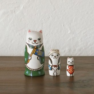 MS3-3 Matryoshka 3sets 端午の節句猫 Boys Festival cat  Size:7cm/Material: wood  ¥6,500+Tax
