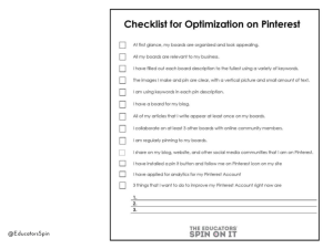Checklist for Pinterest Account by Kim Vij