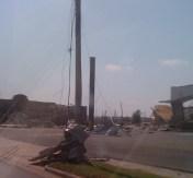 Metal wrapped around a pole