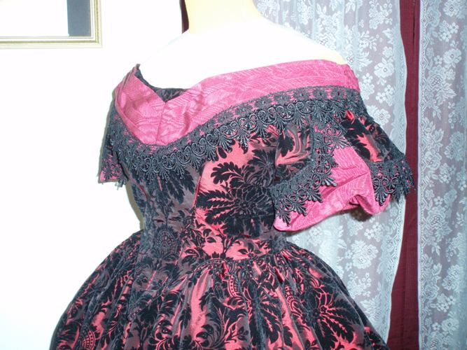 Burgandy/Red And Black Victorian Style Ballgown