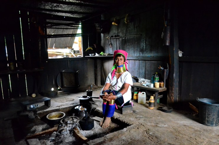 Kayan woman's kitchen
