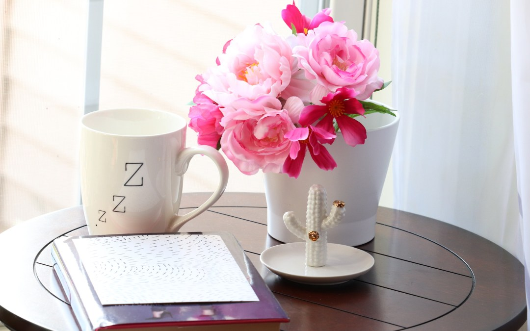 image pink flowers in vase with tea and journal