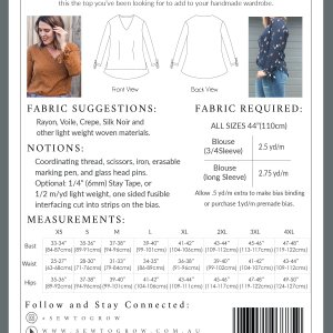 easy sew blouse pattern size chart