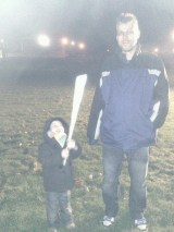 Hubby and Tadpole enjoying his new Light Sabre