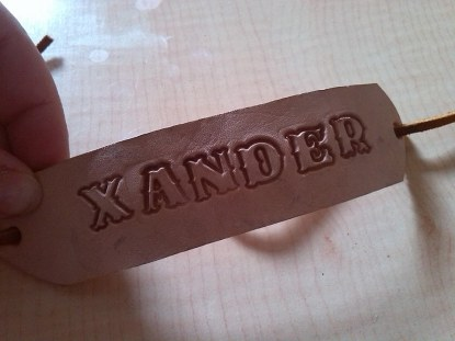 The stamped leather bracelet I made for Tadpole