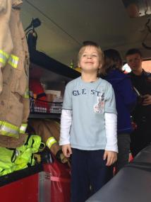 Tadpole was delighted to climb aboard a real fire engine