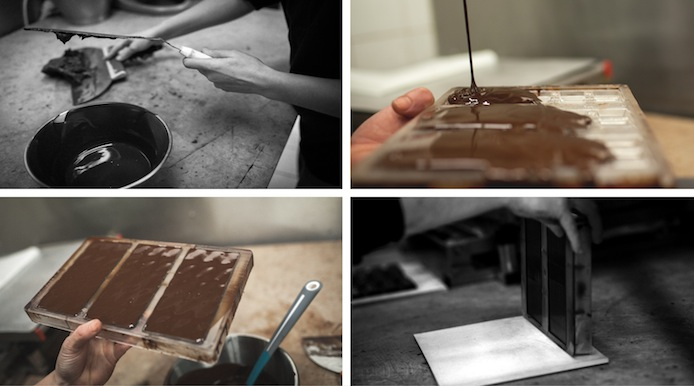 Procédé de fabrication chat noir chocolat.