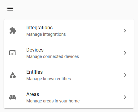 The Home Assistant Configuration Page Including Settings for Integrations, Devices, Entities and Areas
