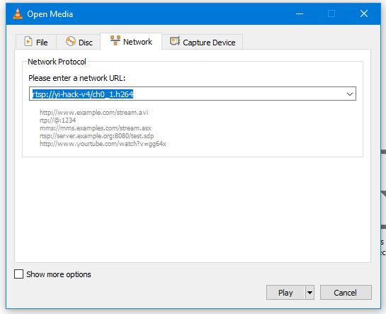 VLC open network stream window