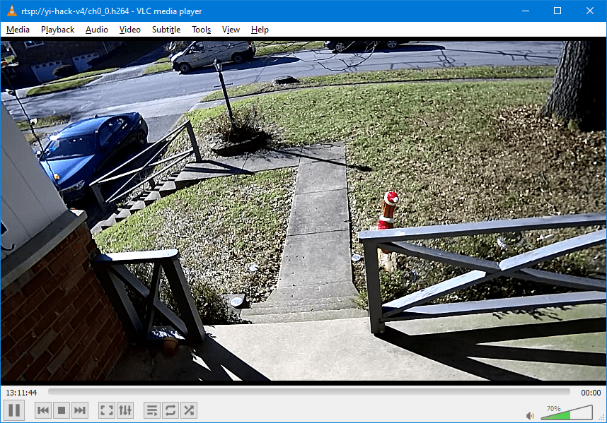 VLC player showing RTSP stream from Yi Cam Outdoor
