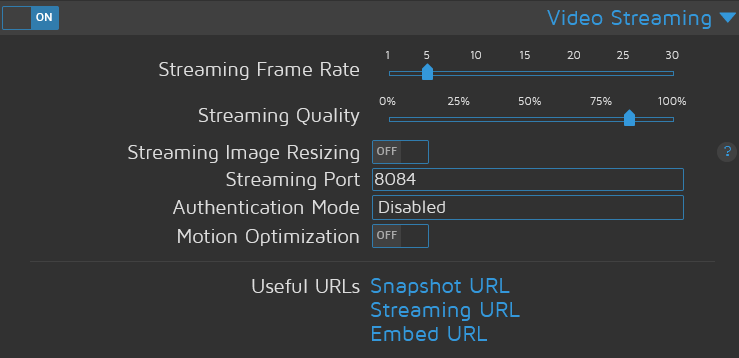 MotionEye Video Streaming Settings - Enable MJPEG streaming in MotionEye