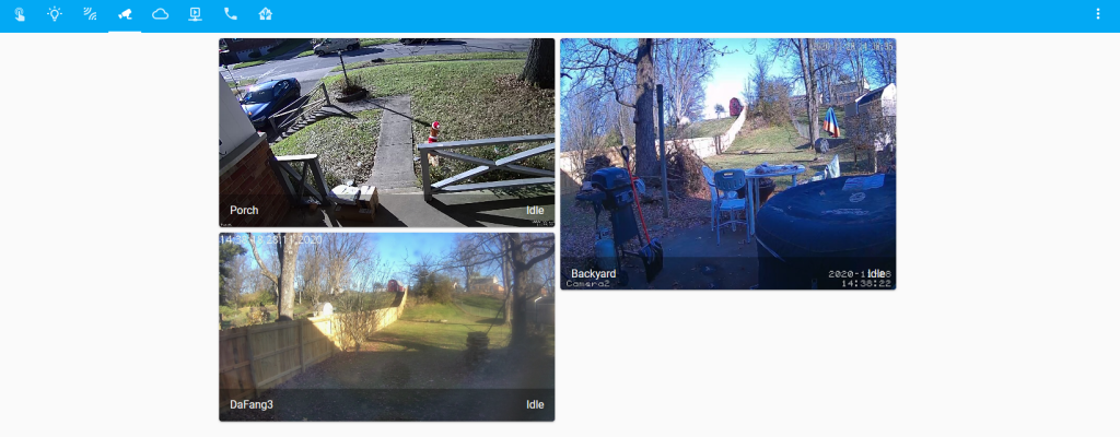 Home Assistant Custom Tab Showing Three RTSP Security Cameras Included