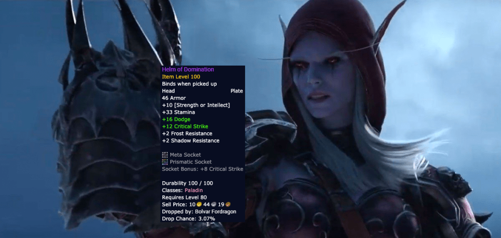 Sylvanas Windrunner Holding the Helm of Domination