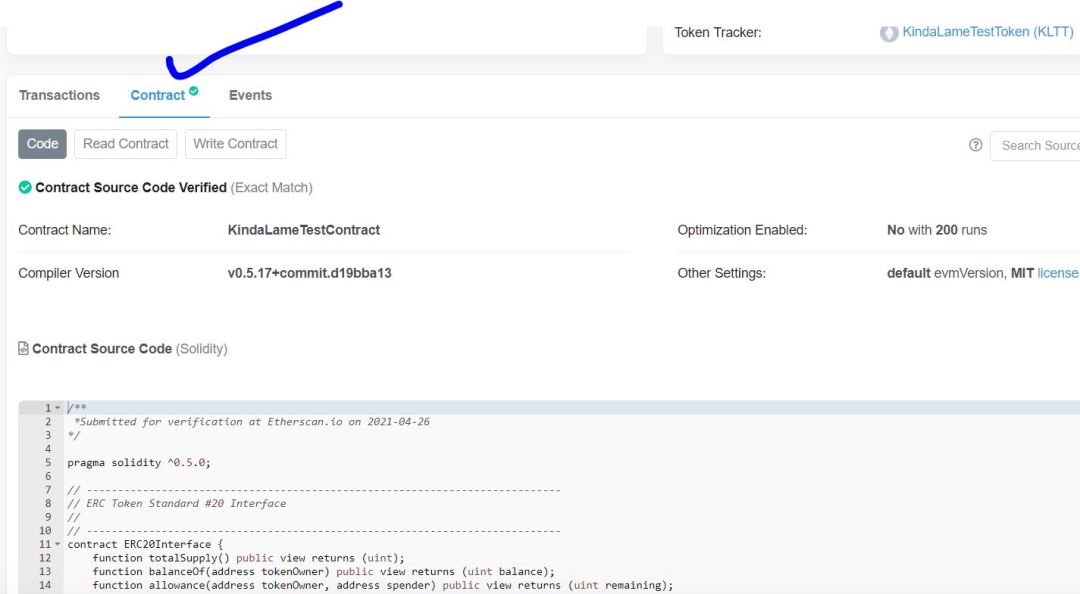 Verified Solidity Source Code on Etherscan