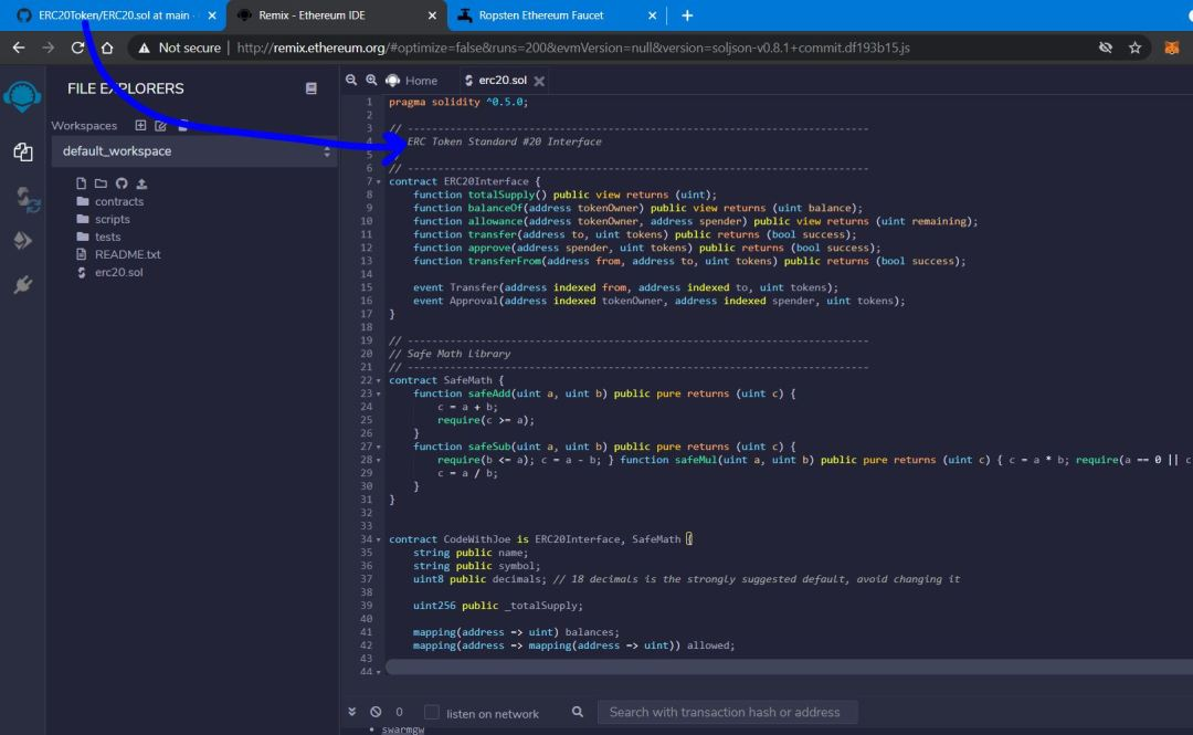Copy code from Github into Remix for ERC-20 Creation