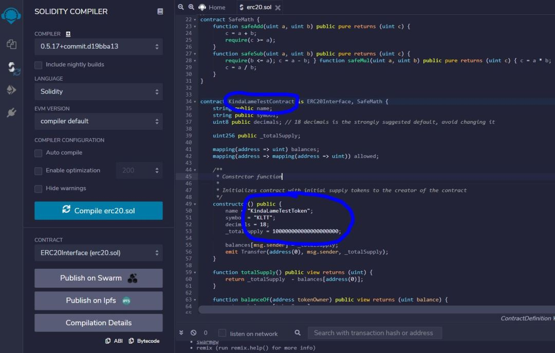 ERC-20 Token Creation with Remix IDE - Setting Token Values