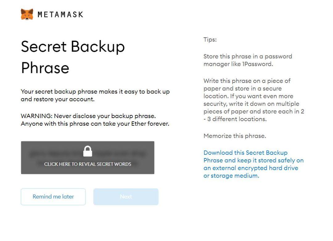 Metamask - Create a Secret Backup Phrase