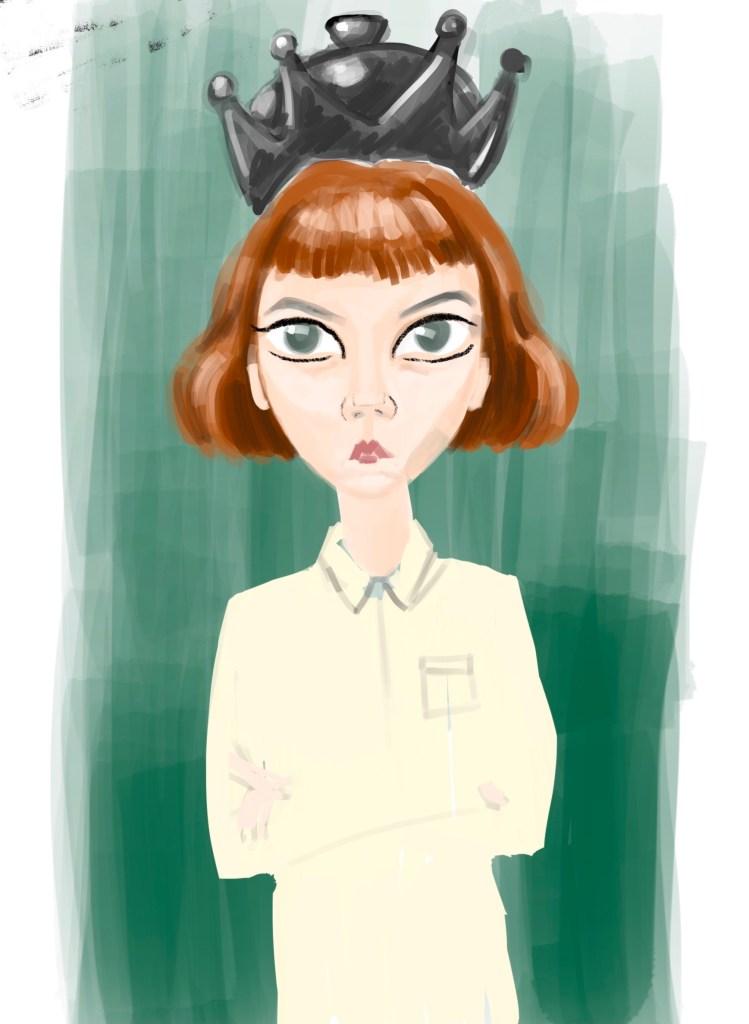 cartoonish digital doodle of the main character of Netflix show Queen's Gambit
