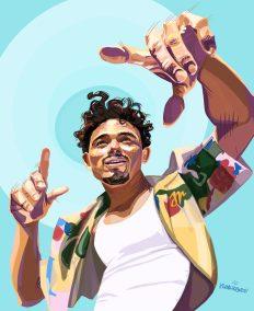 Illustration of Anthony Ramos with light blue background