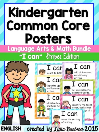 Kindergarten I can Common Core Posters stripes