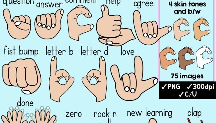 Classroom Hand Signals Clipart
