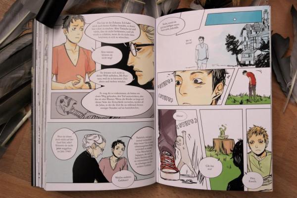 Die Insel der besonderen Kinder als Comic-Adaption mit bunten Illustration und hohem Textanteil